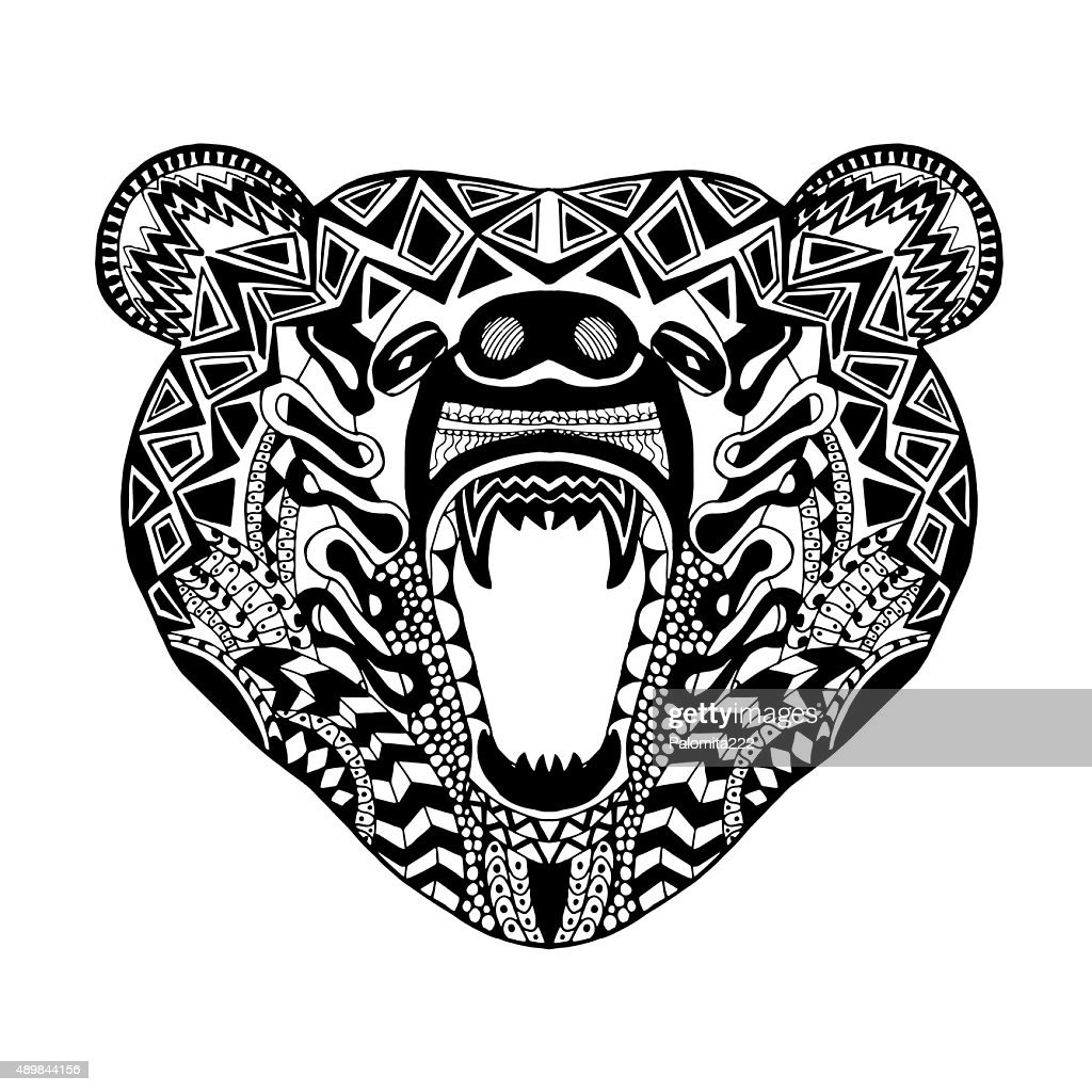 Bear head. Sketch for tattoo or t-shirt