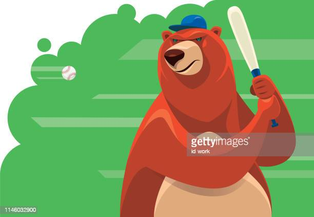 bear holding baseball bat - batting sports activity stock illustrations