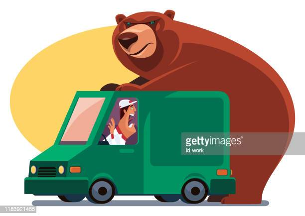 bear holding delivery van - graphic car accidents stock illustrations