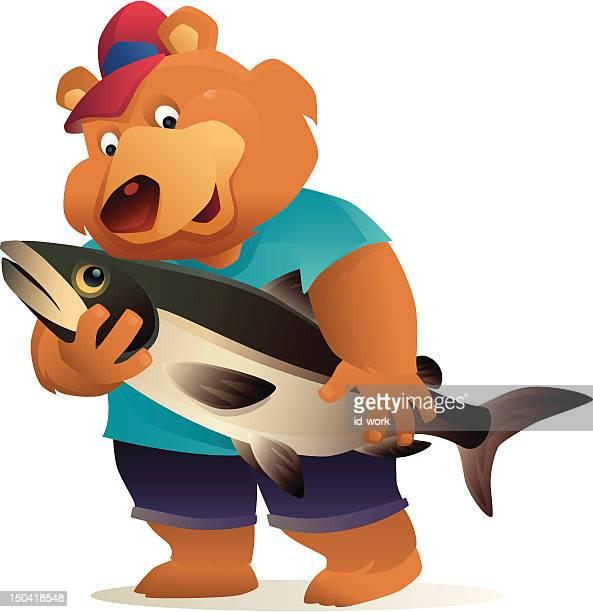 ilustraciones, imágenes clip art, dibujos animados e iconos de stock de bear salmón de retención - oso pardo