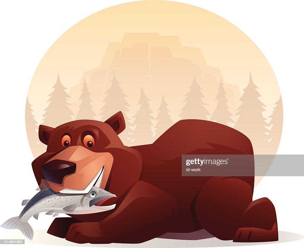 bear holding salmon