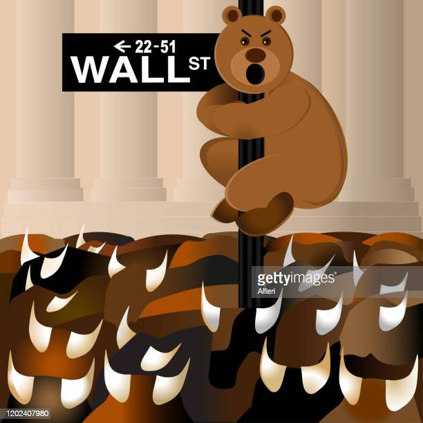 bear holds onto wall street sign while bulls run the street - wall street stock illustrations