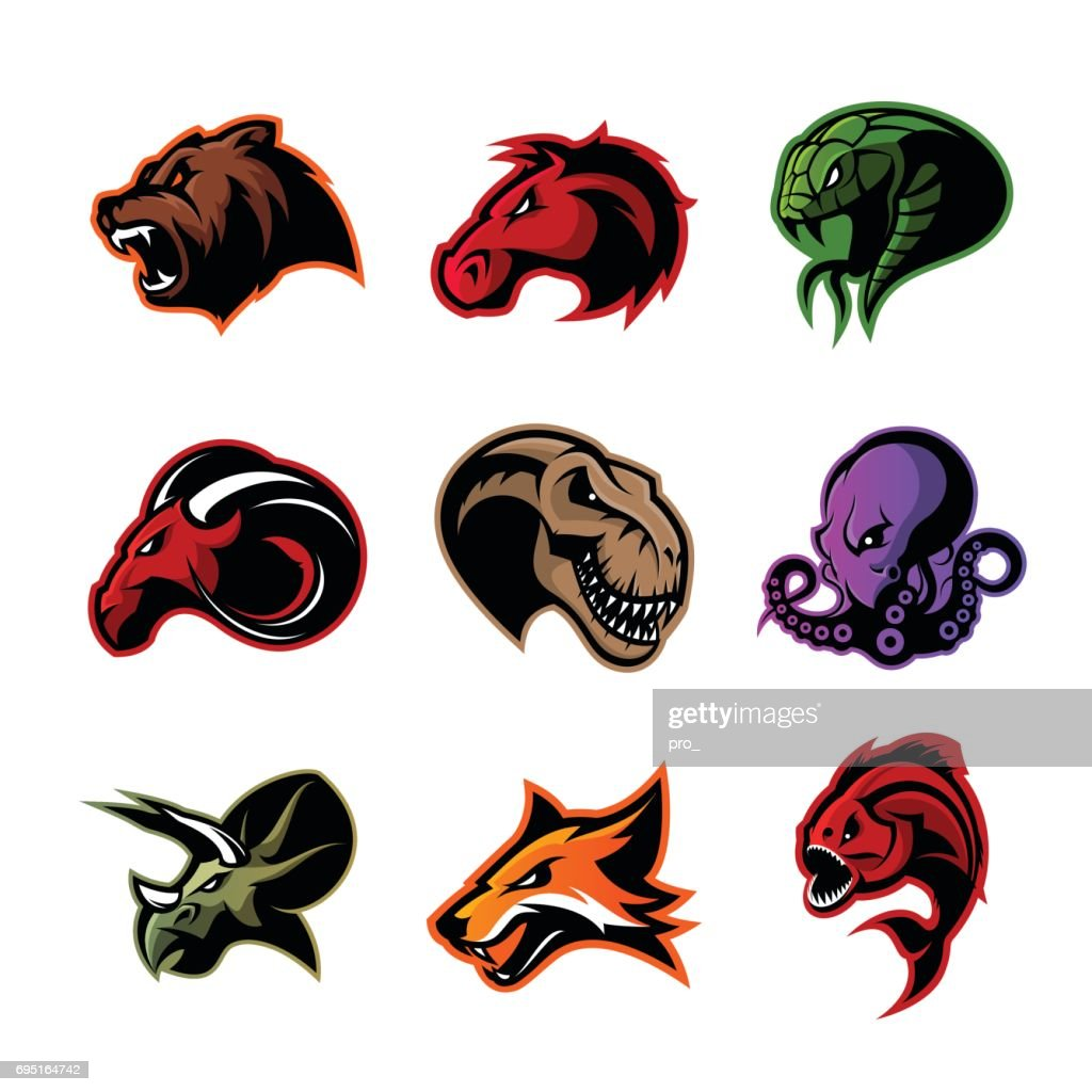 Bear, horse, snake, ram, fox, piranha, dinosaur, octopus head isolated vector concept.
