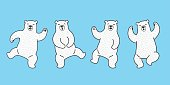 Bear icon Polar Bear dance doodle vector illustration white