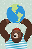 bear is holding the planet.