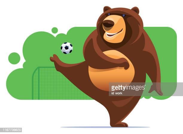 illustrazioni stock, clip art, cartoni animati e icone di tendenza di orso calci pallone da calcio - fat soccer players