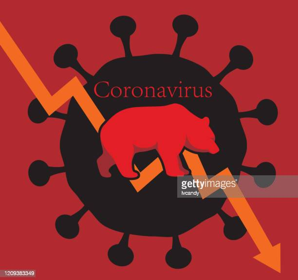 bear market caused by coronavirus - bear market stock illustrations