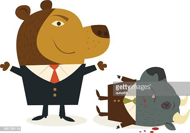 bear market - knockout stock illustrations, clip art, cartoons, & icons