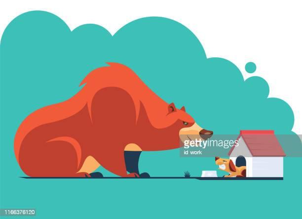 ilustraciones, imágenes clip art, dibujos animados e iconos de stock de oso reunión perro enojado - caseta de perro