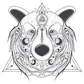 Bear ornamental head with valknut line art vector
