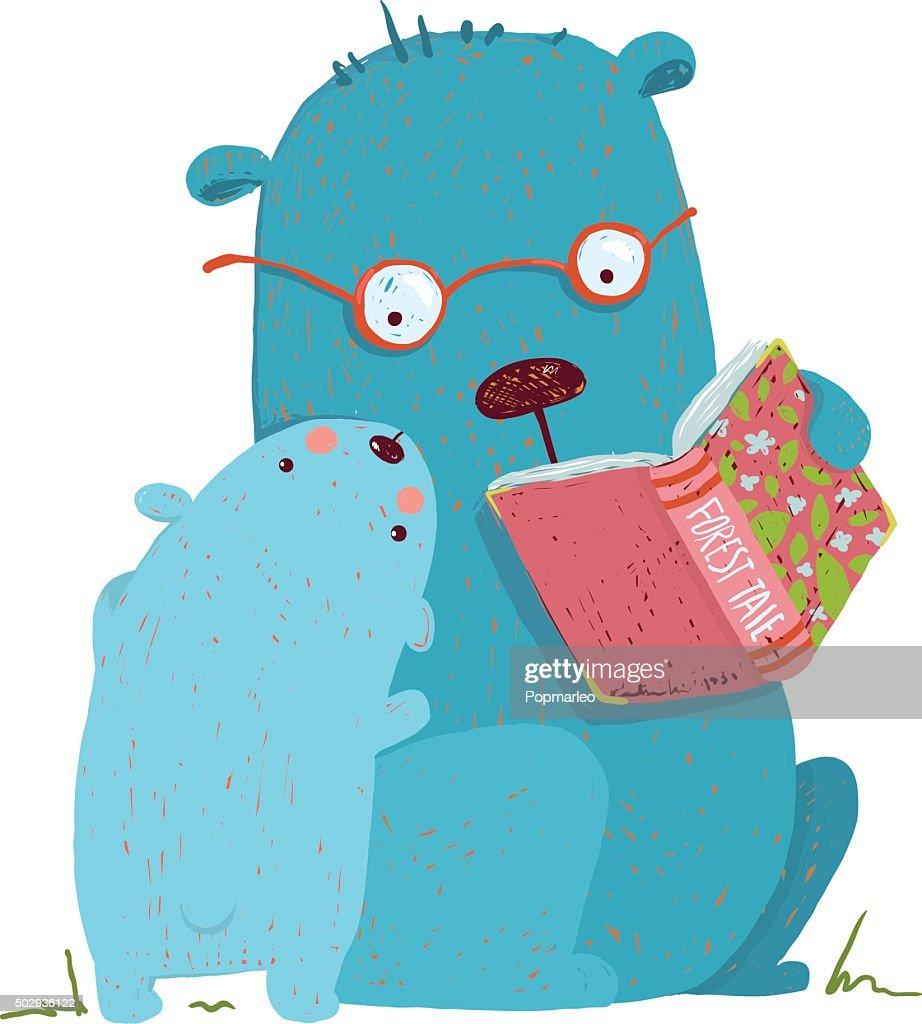 Bear parent reading book to kid
