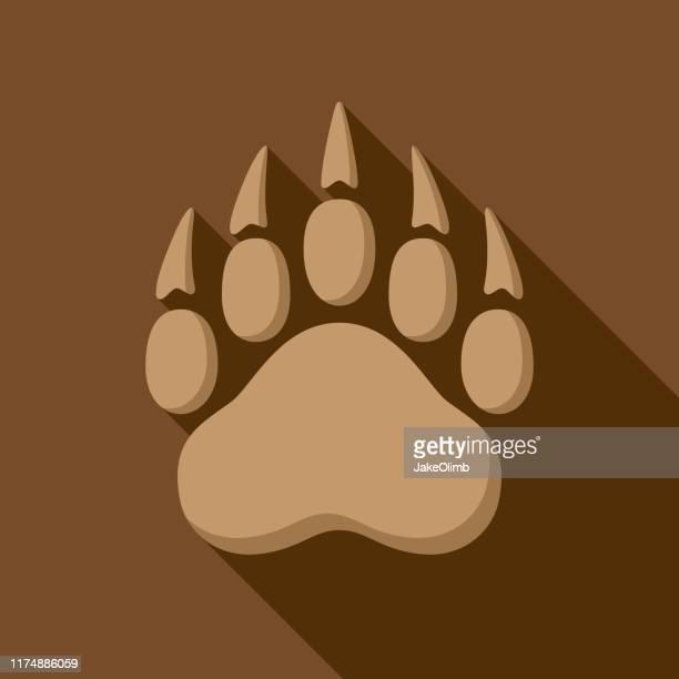 ilustrações de stock, clip art, desenhos animados e ícones de bear paw print icon flat 1 - pegadadepatadeanimal