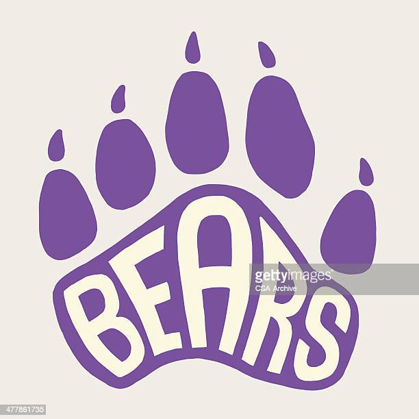 bear paw print - animal track stock illustrations, clip art, cartoons, & icons