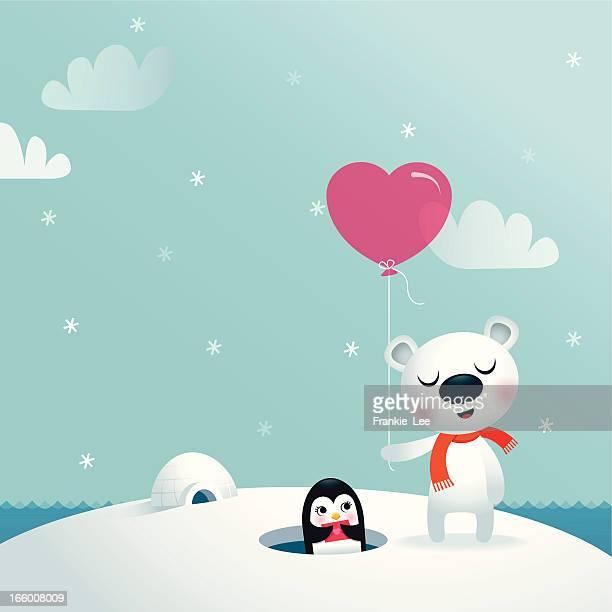 illustrations, cliparts, dessins animés et icônes de bear & penguin - igloo