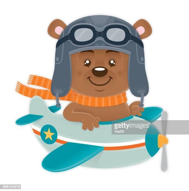 飛行機のパイロット パイロット帽子とゴーグルを負担します。 - パイロットサングラス点のイラスト素材/クリップアート素材/マンガ素材/アイコン素材