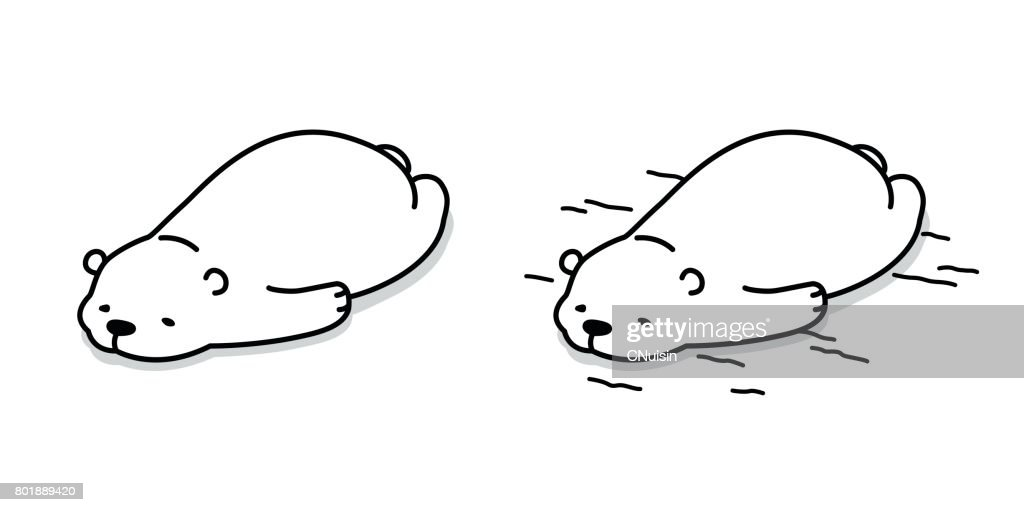 Bear Polar Bear Sleep on the floor Vector illustration cartoon