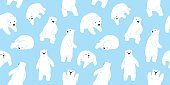 Bear polar bear teddy doodle vector seamless pattern wallpaper background