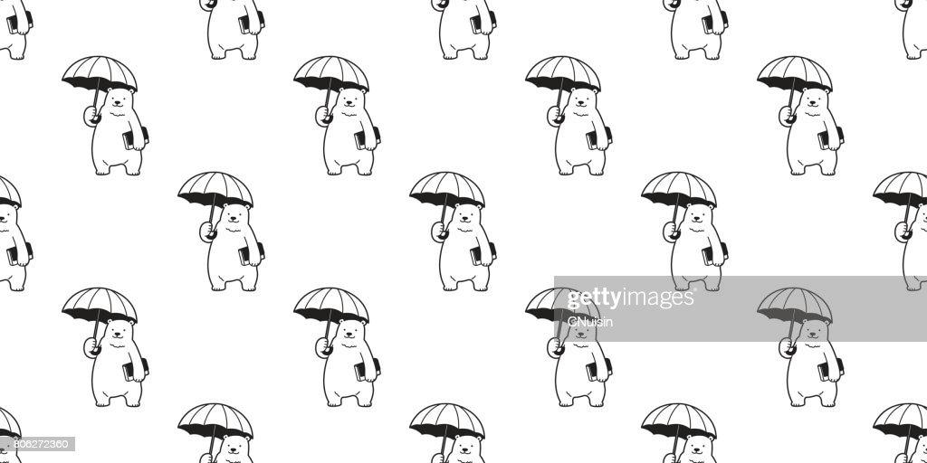 Bear Polar Bear umbrella Seamless Pattern wallpaper background