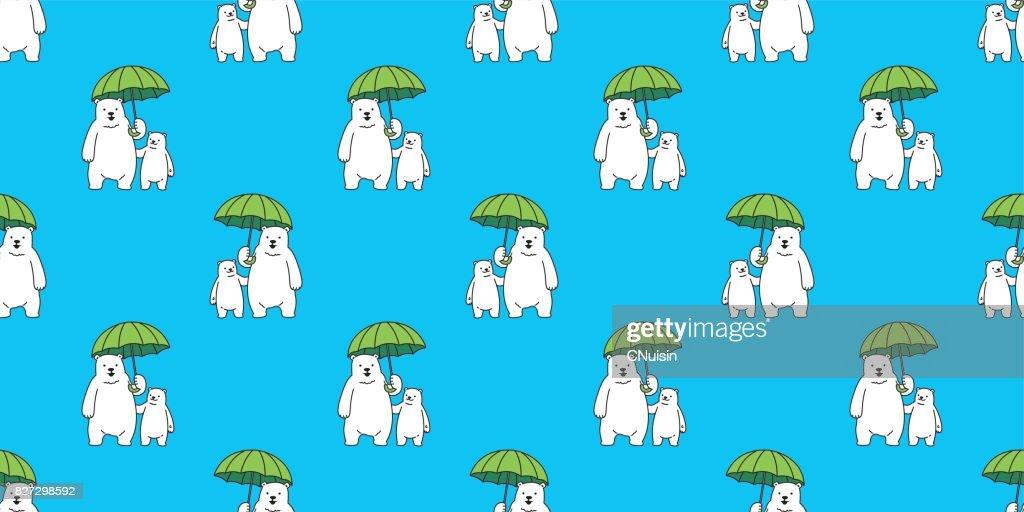 Bear Polar Umbrella Seamless Pattern Wallpaper Background Vector Art