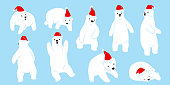 Bear polar Santa Claus Christmas Happy new year doodle illustration vector