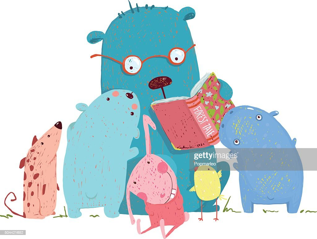 bear reading book for group of animal kids vector art getty images