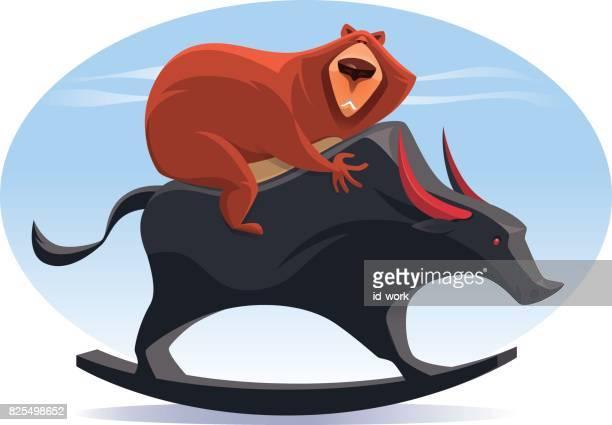 bear riding rocking bull - bull market stock illustrations, clip art, cartoons, & icons