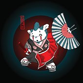 Bear samurai, fluffy ghostly warrior.
