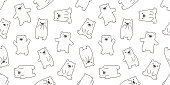 bear seamless pattern polar bear panda vector doodle background repeat isolated wallpaper
