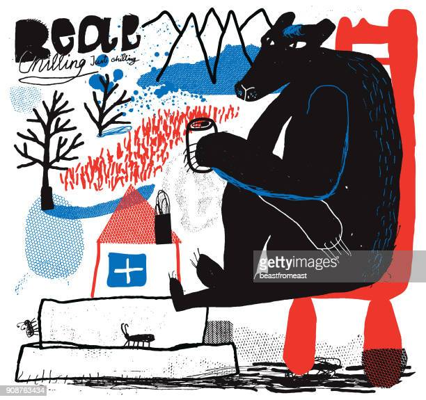 bear sitting near the house - composite image stock illustrations