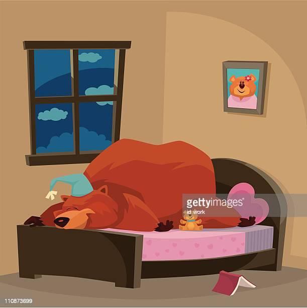 ベアのベッド - 冬眠点のイラスト素材/クリップアート素材/マンガ素材/アイコン素材