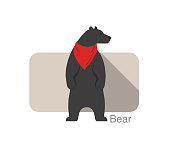 bear standing up and wearing a scarf, vector illustration