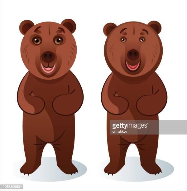 ilustraciones, imágenes clip art, dibujos animados e iconos de stock de pie de oso - oso pardo