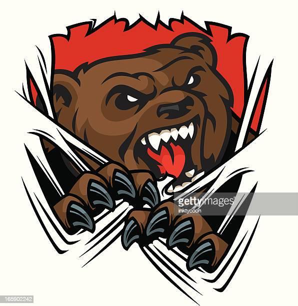 bear tear - agression stock illustrations, clip art, cartoons, & icons