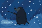Bear the fisher and winter. Cartoon
