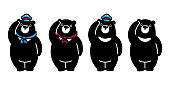 Bear vector polar Bear logo icon hat cap scarf illustration character cartoon black