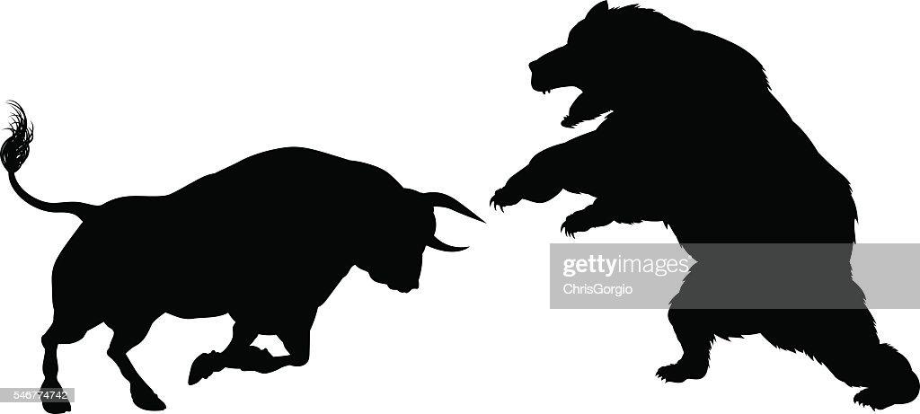 Bear Versus Bull Silhouette Concept