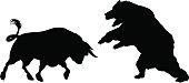 Bear Versus Bull Silhouette