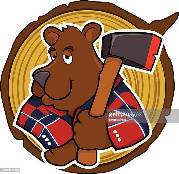 bear with axe - hatchet stock illustrations, clip art, cartoons, & icons