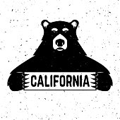 Bear with california sign.