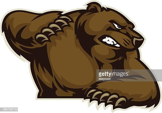 ilustraciones, imágenes clip art, dibujos animados e iconos de stock de bear con ganchos - oso pardo