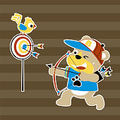 Bear with little bird, the best archer , vector cartoon illustration