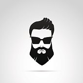 Beard icon isolated on white background.