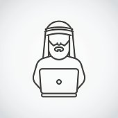 Bearded arabic man in traditional muslim hat. Vector Icon