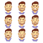 Bearded hipster man character emotions, male heads set