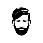 Bearded hipster man vector