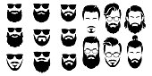 bearded icon set Vector illustration white background