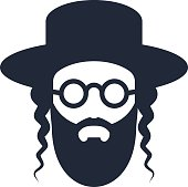 A bearded Jew with a hat and sunglasses. Hasid icon
