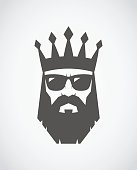 Bearded king wearing sunglasses