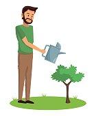 bearded man watering plant