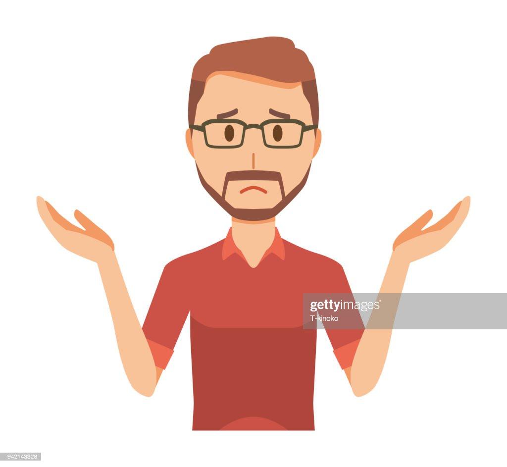 A bearded man wearing eyeglasses is shrugging his shoulders : stock illustration
